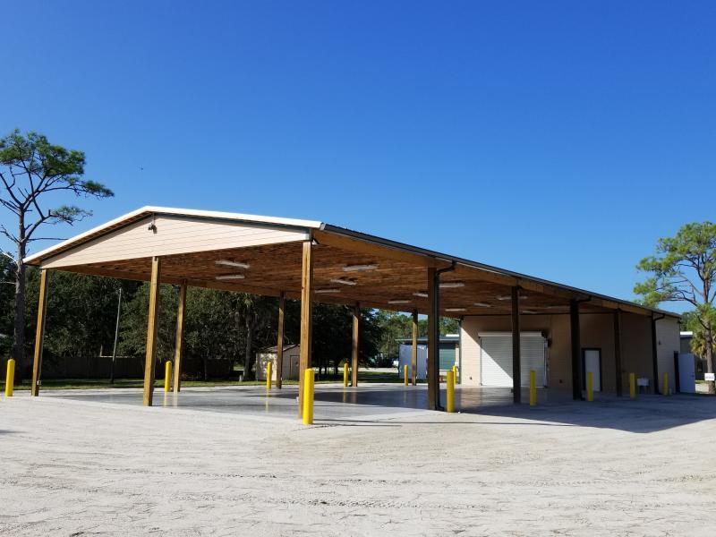 Pavilion at an angle
